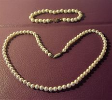 Set including necklace and bracelet with real pearls - 1930s/1940s.