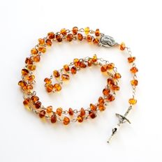 Rosary : sterling silver + natural Baltic amber. No Reserve