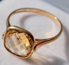 Yellow gold ring set with citrine - Ring size: 17.75