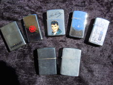 Batch of 7 ZIPPO lighters (chromed metal-aluminium) Elvis Presley etc...1987
