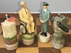 WW II chess set with Hitler and Franklin D. Roosevelt