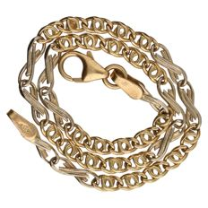 14 kt yellow gold fantasy link bracelet.  Length: 19.5 cm