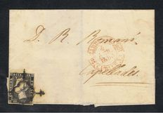 Spain 1850 – Envelope of letter from Barcelona to Capellades – Edifil No. 1A