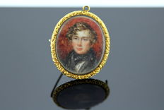 French gold plated Brooch - The son of Napoleon I ( Napoléon François Charles Joseph Bonaparte) - Real Hair on the back - Ca. 1830
