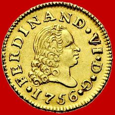 Spain – Ferdinand VI (1746–1759) – ½ escudo gold coin, Madrid, 1756. JB.