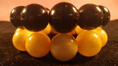 Baltic amber beads bracelet egg yolk and black color, set of 2, No Reserve, 106 grams