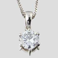 14K white gold pendant set with created moissanites- Size: 15mm x 6mm