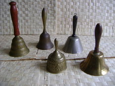 Lot of 5 copper table bells