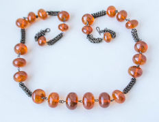 18-20th century Baltic amber beaded necklace with 100% natural butterscotch, honey colour, 70 gram