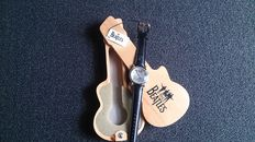 """""""The Beatles"""" wristwatch in wooden guitar case, never worn / Apple Corps Ltd., 1996, collection"""