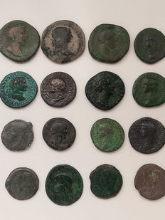 Roman Empire - Lot of 3 sestertii and 13 Asses from the emperors:  Lucius Verus, Traianus, Marcus Aurelius, Vespasian, Faustina, Gordian, Agrippa, Germanic, Hadrian, Claudius