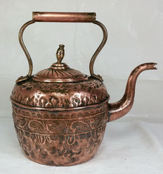 Antique chiseled copper kettle - probably Ottoman - early 1900s