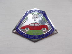 vintage Dutch car badge 1954 chrome on brass and enamel  R AC  rally original excellent condition no chip to enamel stunning  un-used