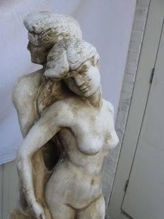 Decorative; Erotic garden statue of man and woman-1990