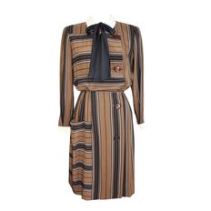 Salvatore Ferragamo – Women's striped dress – 1980.