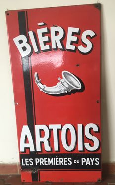 BIERES ARTOIS enamelled plate large model 1950s