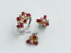 New set in 18 kt gold with rubies and diamonds – ring and earrings – handmade