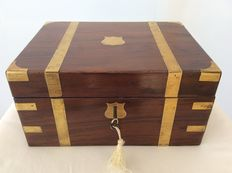 Victorian mahogany writing box with brass fittings and key - England-ca. 1870