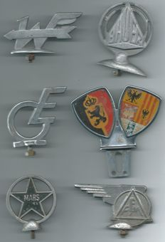 6 Various old bonnet ornaments / car masquottes from the 1950s