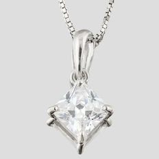 14K white gold pendant set with created moissanites