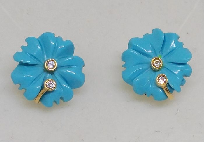 Earrings - 18 kt yellow gold - Flower of turquoise and zirconias