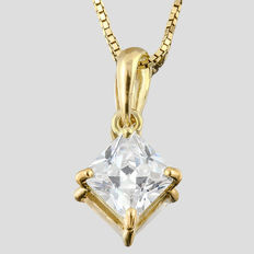 14K gold pendant set with created moissanites- Size: 15mm x 9mm
