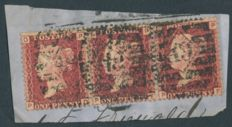 Great Britain 1858/1869 – Penny Red – 34 strips of 3 stamps on pieces