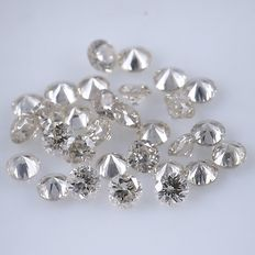 30 Diamonds - 0.36 ct. Natural Round Brilliant - *** NO RESERVE ***