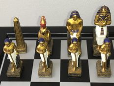 Beautiful Egyptian chess set including chessboard with extra figurine