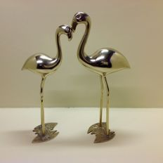 Vintage brass flamingos, France, late 20th century.