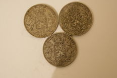 Belgium – 5 franc 1870, 1873 and 1874 Leopold ll – silver.