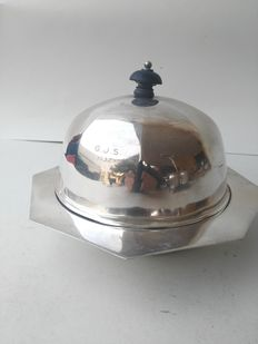Butter dish with lid, silver plated ART DECO 1932 William Hutton & Sons-Sheffield