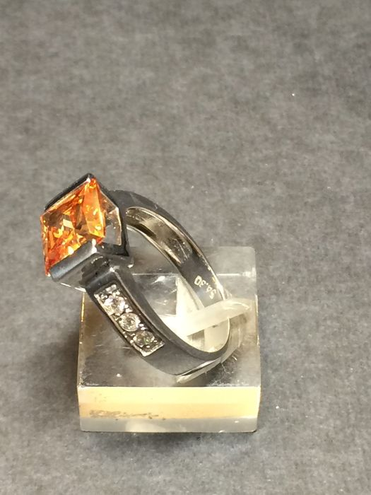 14K solitary ring with cubic zirconia - 54 (EU)