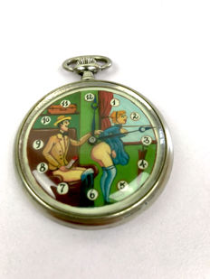 Clock; Doxa pocket watch with erotic image on dial - 30s
