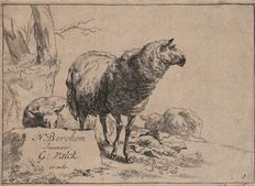 Nicolaes Berchem ( 1621 - 1683) - Sheep standing or resting - After Animalia - Etched by anonymous and published by Gerard Valck (1651 - 1726) - Ca.1690