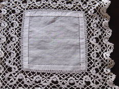 White Batiste linen handkerchief, Rapallo stitch lace, Italy, early 19th century