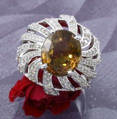 White Gold, GIA Certified designer 10.90 ct. Rare Natural Alexandrite ( unheated )  and 2.04 ct. diamond Ring