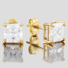 14KT gold stud earring set with created moissanites;  Length : 13mm x 6mm