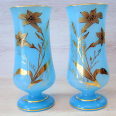 Pair of blue opaline glass vases with gold-coloured flowers, France, 1st half of the 20th century