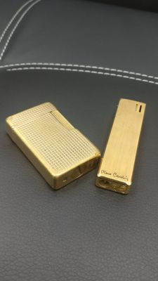 "N° 2 lighters, S.T. Dupont 20 micron gold-plated + Pierre Cardin lighter (rare) ""WITHOUT A RESERVE PRICE"""