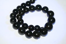 Large, black Russian amber necklace. Length: 51 cm.