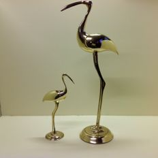 Set of 2 vintage brass cranes from the sixties