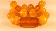 Baltic amber beads bracelet and earrings, No Reserve, 61 grams