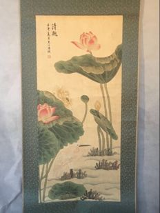 Hand painting old  calligraphy and painting - China - second half 20th century