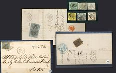 Papal State - 1850s - composition of 3 folding letters and stamps from series Sassone # 2B/9.