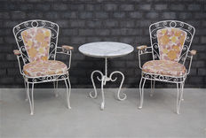 Metal garden furniture with original upholstery, France, mid 20th century