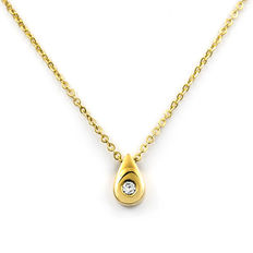 750/1000 (18 kt) white gold –  Yellow gold choker with pendant – Central brilliant-cut diamond – Length: 42 cm