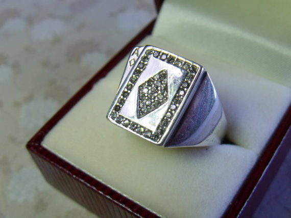 """Sterling silver poker ring """"Ace of Diamonds"""" Catawiki"""