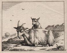 Paulus Potter (1625-1654) -    A nanny goat and goatling resting in a landscape - Etched by Marcus De Bye ( 1639-1688 ) -  ca 1665