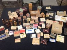 Ten pharmacy bottles and ampoules, several dozen drug-cases, bandage items, (Museum value!!)